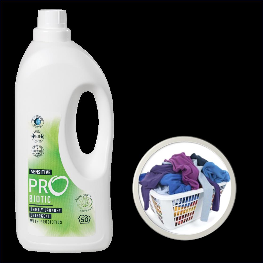 PROBIOTIC koncentruotas skalbimo skystis su probiotikais ir alijošiaus ekstraktu, 1500 ml