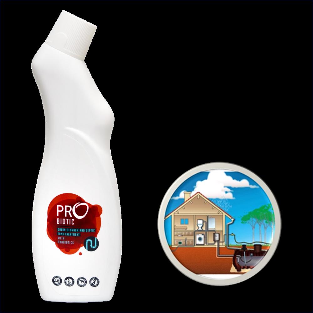 PROBIOTIC kanalizacijos vamzdžių ir nuotekų talpų valiklis su probiotikais, 750 ml